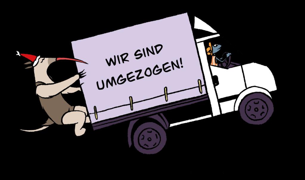 Kontakt Illustration mit Umzugswagen