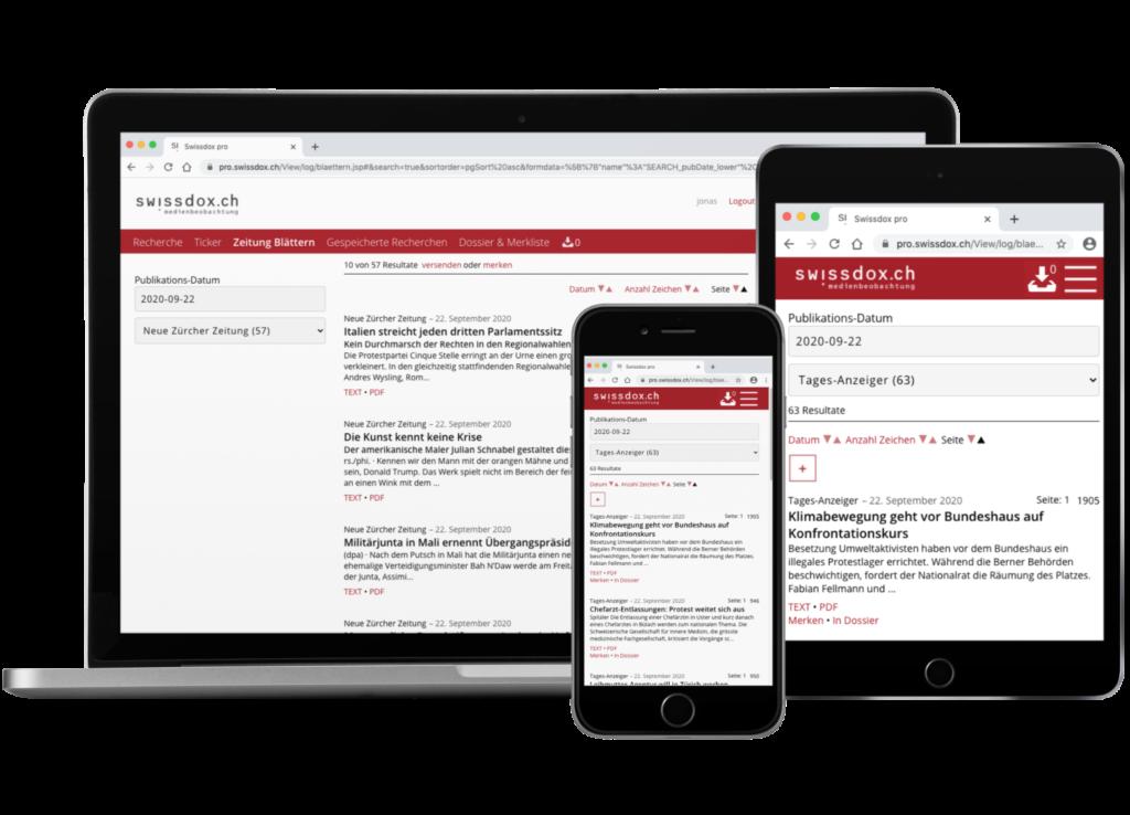Swissdox veille média pour le PC, le smartphone et la tablette