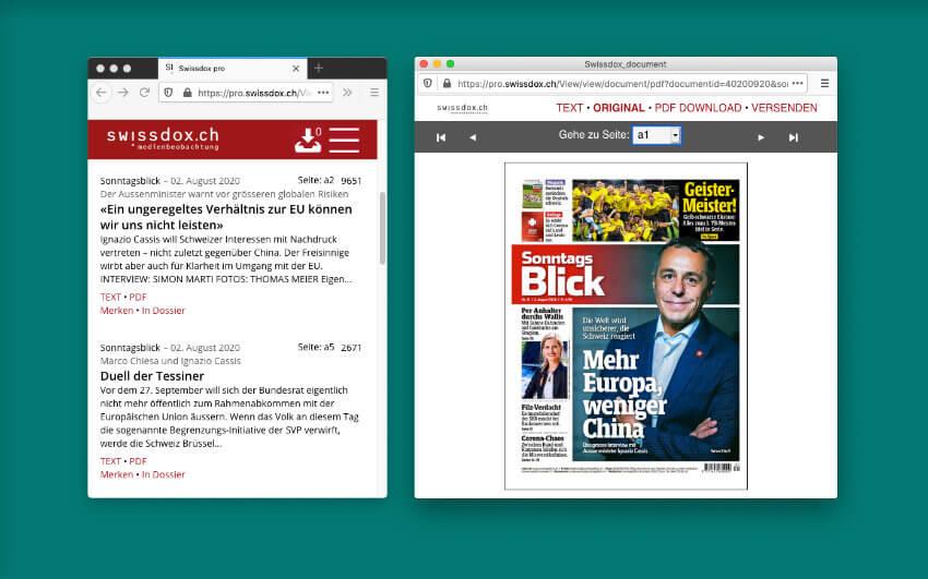 """Der """"Sonntagsblick"""" als Volltext und PDF zum Blättern."""